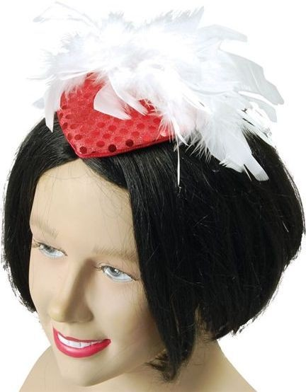 Lady'S Hat Red Sequin & Feather (1920S , Burlesque Fancy Dress Hats)