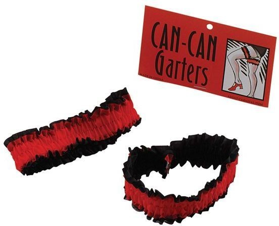 Garters. Can Can. Red/Black. 2Pkt (Burlesque , Sexy Fancy Dress)