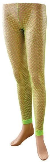 Footless Tights. Fishnet. Neon Yellow (1980S Fancy Dress Tights)