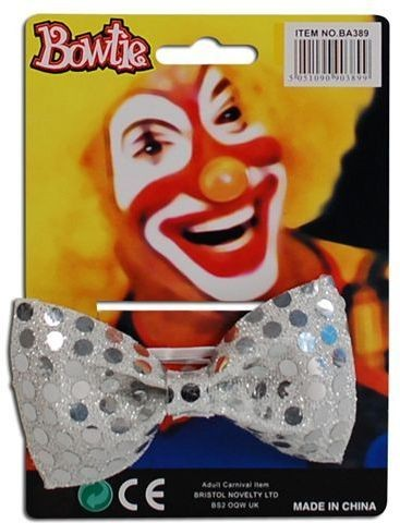 Bow Tie Sequin Silver (Clowns Fancy Dress)