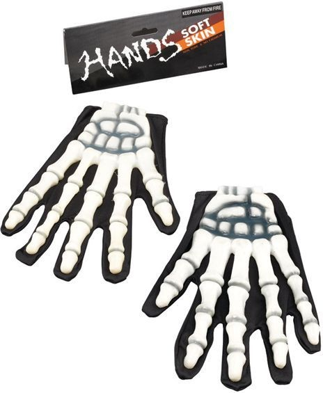 Gloves Skeleton/Rubber Fingers (Halloween Gloves)