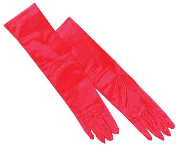 Gloves. Red Satin (1920S , Burlesque Fancy Dress Gloves)