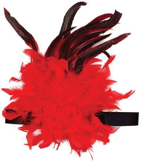 Charleston Headband Red Feather (Burlesque , 1920S Fancy Dress)