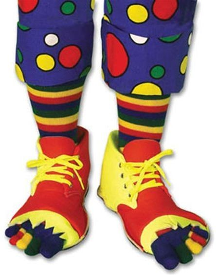 Clown Shoes With Toe Socks (Clowns Fancy Dress Shoes)