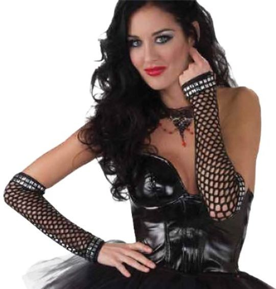 Punk Studded Fishnet Gloves (1980S Fancy Dress Gloves)