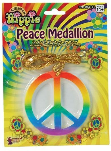 Rainbow Peace Medallion (1960S Fancy Dress Jewellery)