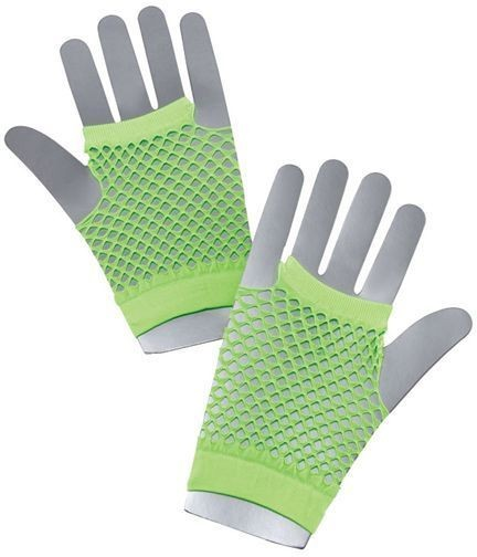 Fishnet Gloves. Short Neon Green (1980S Fancy Dress Gloves)
