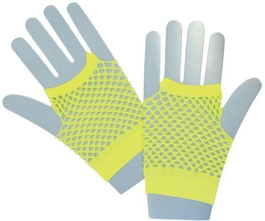 Fishnet Gloves. Short Neon Yellow (1980S Fancy Dress Gloves)