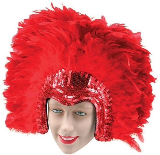 Deluxe Red Feather Headdress (Burlesque , 1920S Fancy Dress Hats)