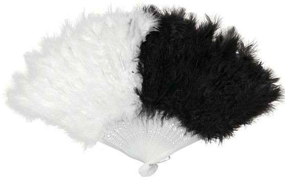 Feather Fan. Black/White (Burlesque , 1920S Fancy Dress)