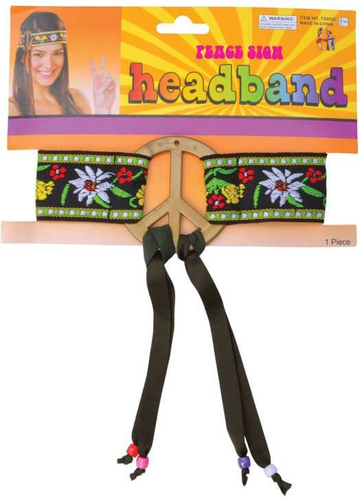 Adult Hippie Peace Sign Headband Fancy Dress Accessory