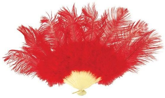 Ostrich Feather Fan. Red (Burlesque Fancy Dress)
