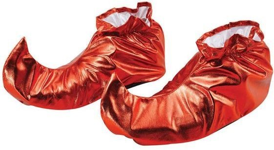 Jester Shoe Covers. Red Metallic (Halloween , Christmas Shoes)