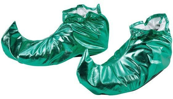 Jester Shoe Covers. Green Metallic (Christmas , Medieval Shoes)