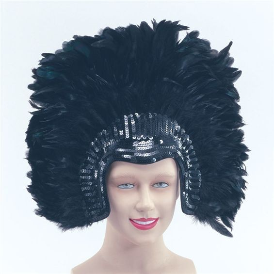 Feather Headdress Blackdeluxe (Burlesque Fancy Dress Hats)