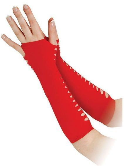 "Gloves. Ladder Style Red 10"" (1980S Fancy Dress Gloves)"