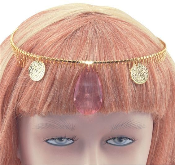 Diadem Gold With Large Stone (Cultures Fancy Dress)