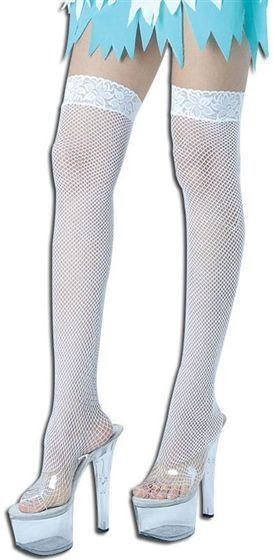 Fishnet Hold Ups. White/Lace Top (Sexy , Burlesque Fancy Dress Tights)