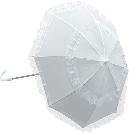 Parasol, White. Long Handle (Burlesque , Old English Fancy Dress)