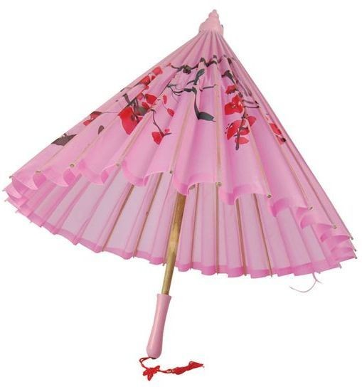 Parasol. Pink Silk + Wooden Handle (Oriental Fancy Dress)