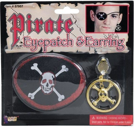 Pirate Eyepatch & Large Ear Ring (Pirates Fancy Dress Jewellery)