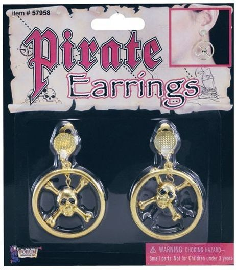 Pirate Skull Metal Ear Rings (Pirates Fancy Dress Jewellery)
