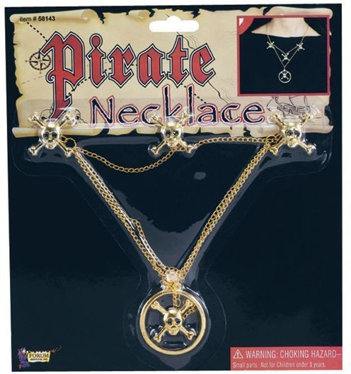 Pirate Skull Metal Necklace (Pirates Fancy Dress Jewellery)