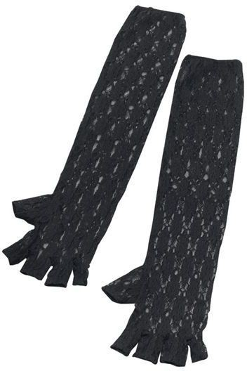 Black Long Fingerless Gloves (1980S , Halloween Gloves)