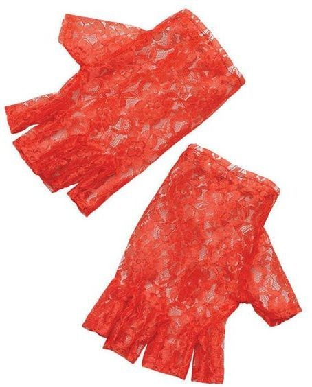 Red Short Fingerless Gloves (1980S , Halloween Gloves)