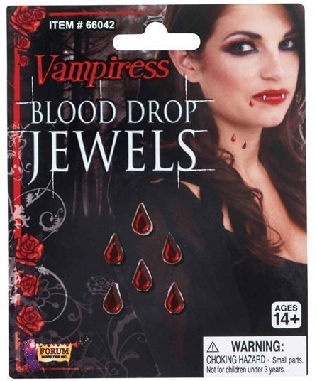 Vampiress Blood Drop Jewels (Halloween Fancy Dress)