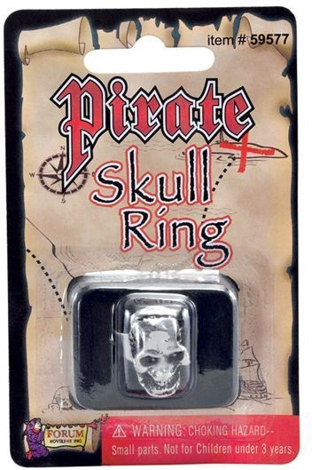Pirate Skull Ring (Pirates Fancy Dress Jewellery)