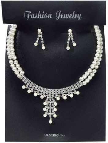 Pearl Necklace + Earrings Set (1920S Fancy Dress Jewellery)
