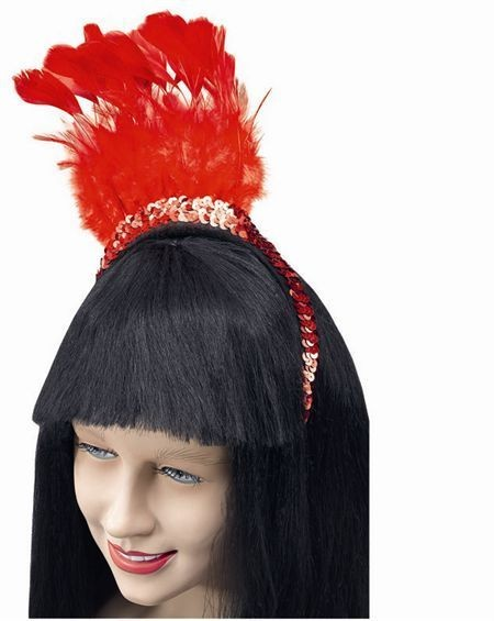 Red Feather Sequin Headpiece (1920S , Burlesque Fancy Dress Hats)