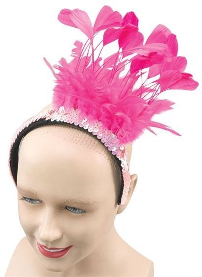 Feather Sequin Headpiece. Pink (1920S , Burlesque Fancy Dress)