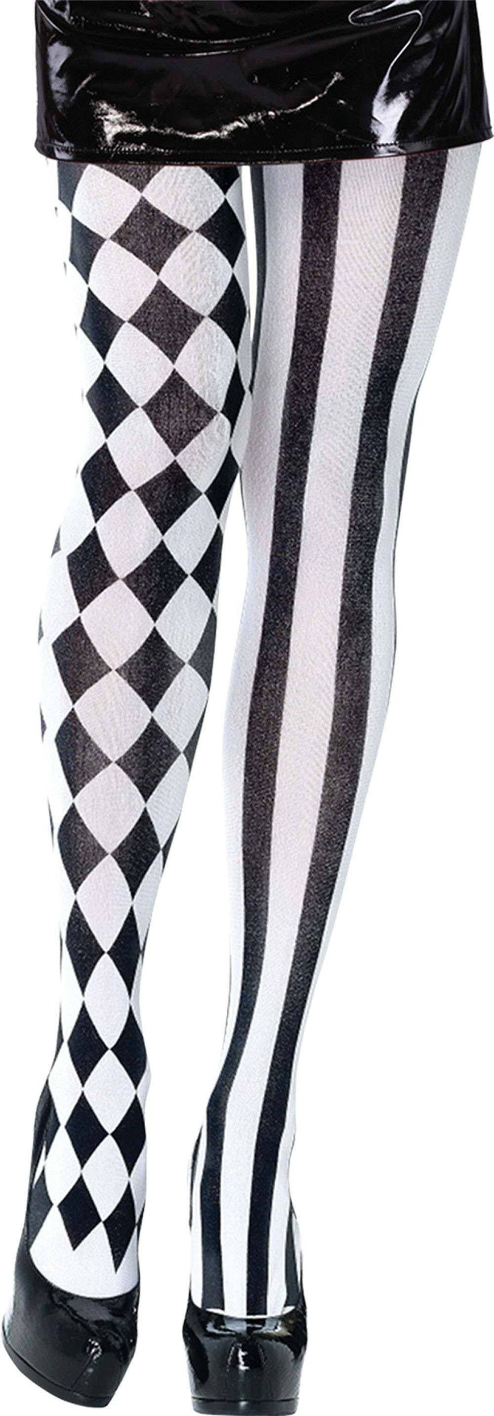 Harlequin Tights Black/White- Fancy Dress Halloween