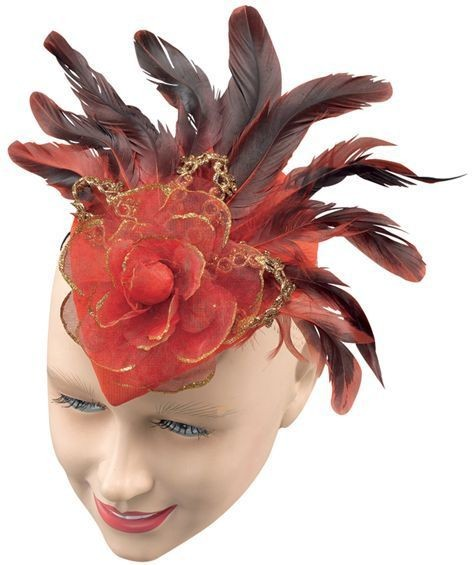 Teardrop Hat. Red Rose (1920S Fancy Dress Hats)