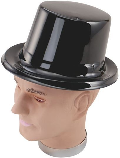 Toppers. Black Plastic (1920S , Old English Fancy Dress Hats)