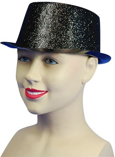 Glitter Black Toppers, Plastic (1920S Fancy Dress Hats)