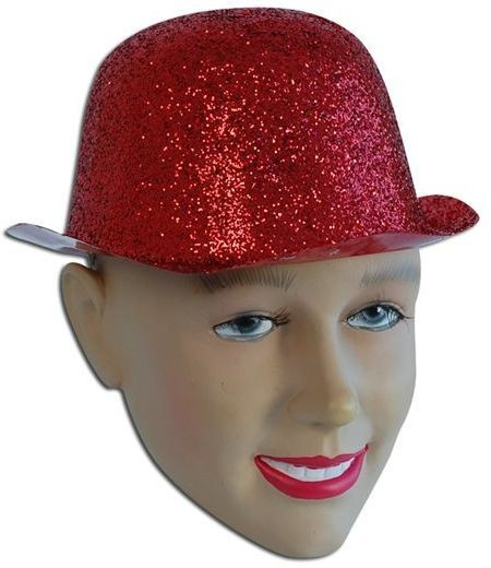 Glitter Red Plastic Bowler (1920S Fancy Dress Hats)