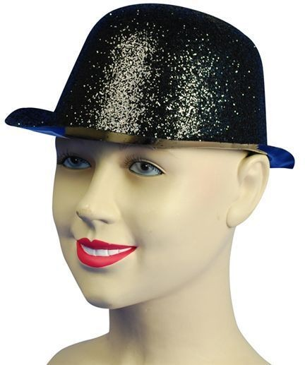 Glitter Black Plastic Bowler (1920S Fancy Dress Hats)