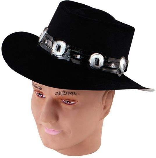 Croc Dundee Hat.Black Flock (Cultures , Cowboys/Native Americans/ Hats)