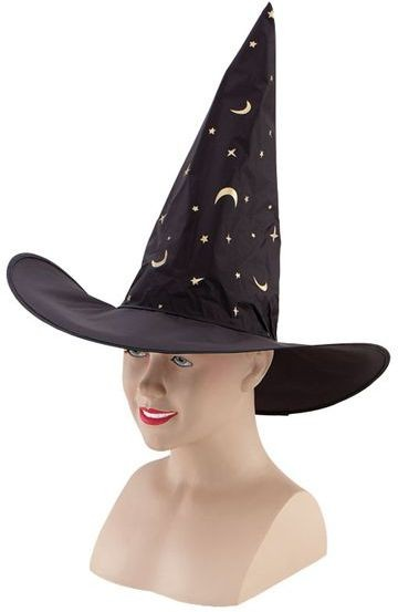 Witch Hat. Nylon/Printed Stars (Halloween Hats)