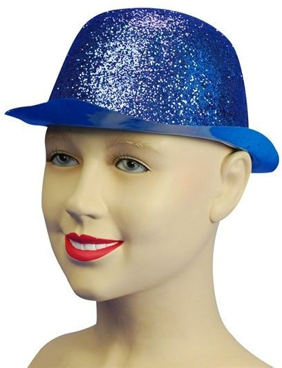 Glitter Blue Plastic Bowler (1920S , Clowns Fancy Dress Hats)