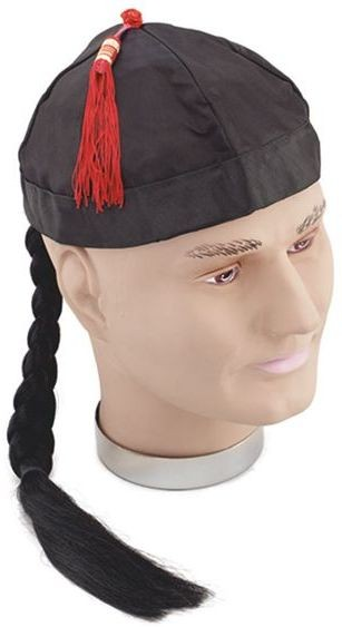 Chinaman Hat With Pigtail (Cultures Fancy Dress Hats)