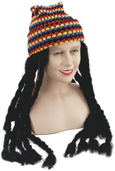 Rasta Hat & Dreadlocks (Cultures , Hawaiian Fancy Dress Hats)