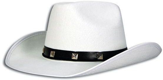 White Felt Cowboy Studded Hat (Cowboys/Native Americans Fancy Dress Hats)
