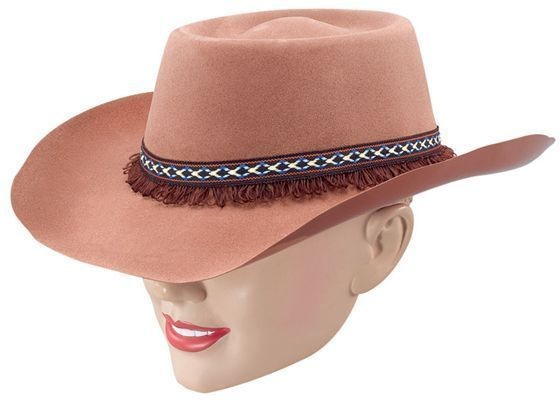 Cowboy Hat, Brown Flock & Fringe (Cowboys/Indians Fancy Dress Hats)