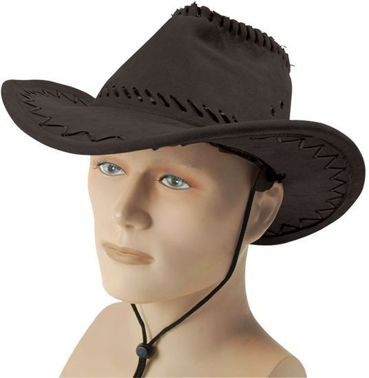 Cowboy Hat. Stitched Black (Cowboys/Indians Fancy Dress Hats)