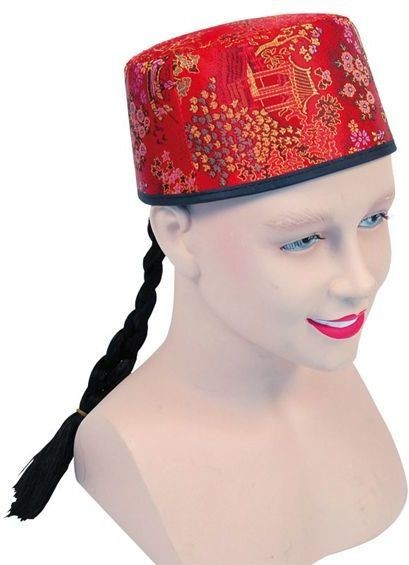 Chinese Mandarin Hat Red Fabric+Plait (Cultures Fancy Dress Hats)