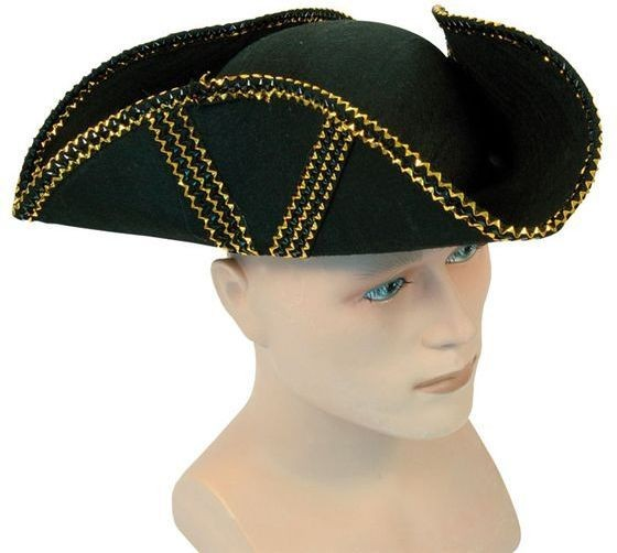 Tricorn Hat + Gold Trim+ Gold Pattern (Pirates Fancy Dress Hats)